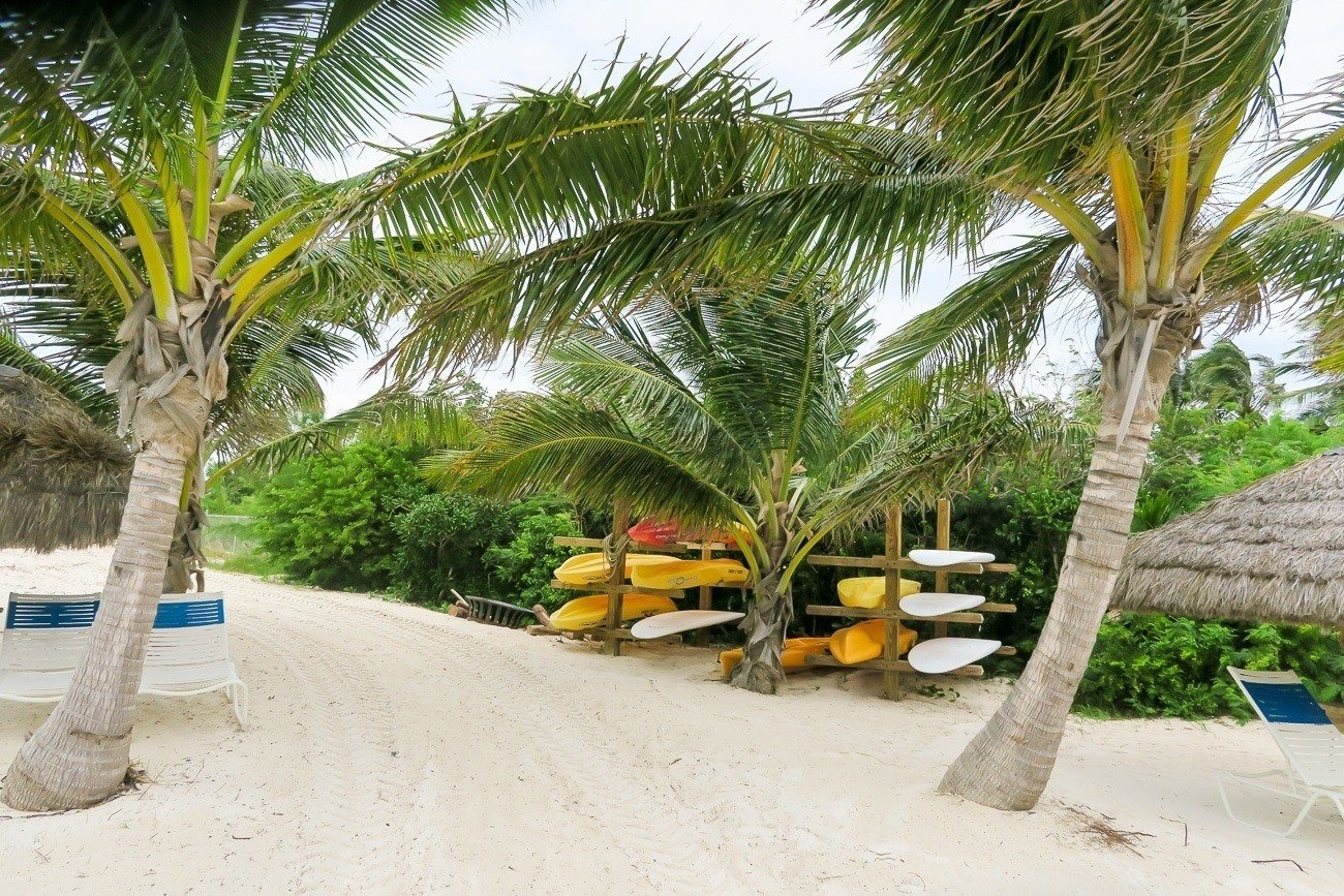 Kayaks and paddle boards are available for guest use at Grand Isle Resort, a luxury hotel in the Bahamas