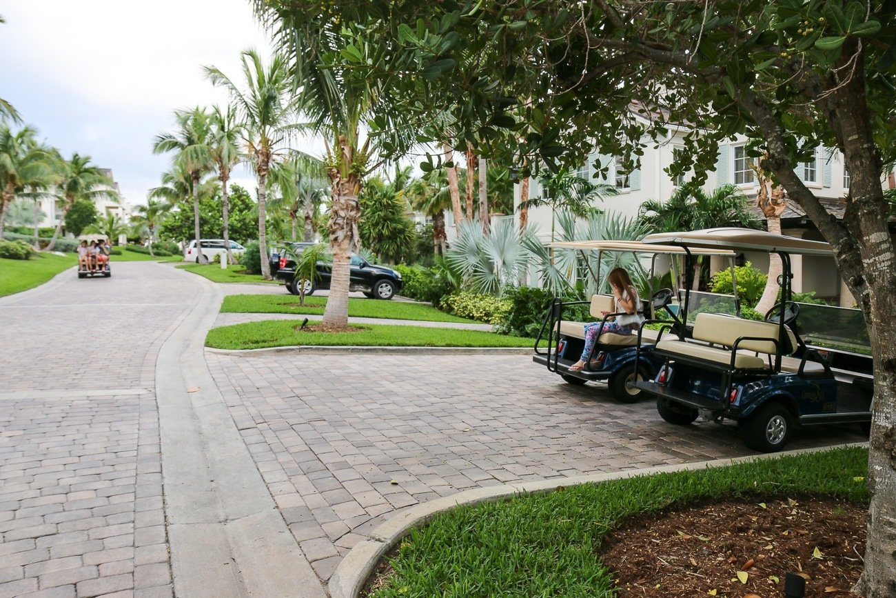 Each villa at Grand Isle Resort has a golf cart to tour the Emerald Bay area of Great Exuma island in the Bahamas. So fun!