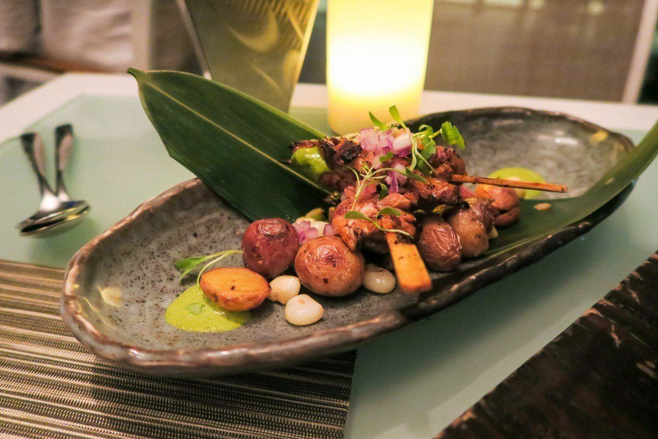 Chicken anticucho at La Mar by Gaston Acurio restaurant in Mandarin Oriental, Miami
