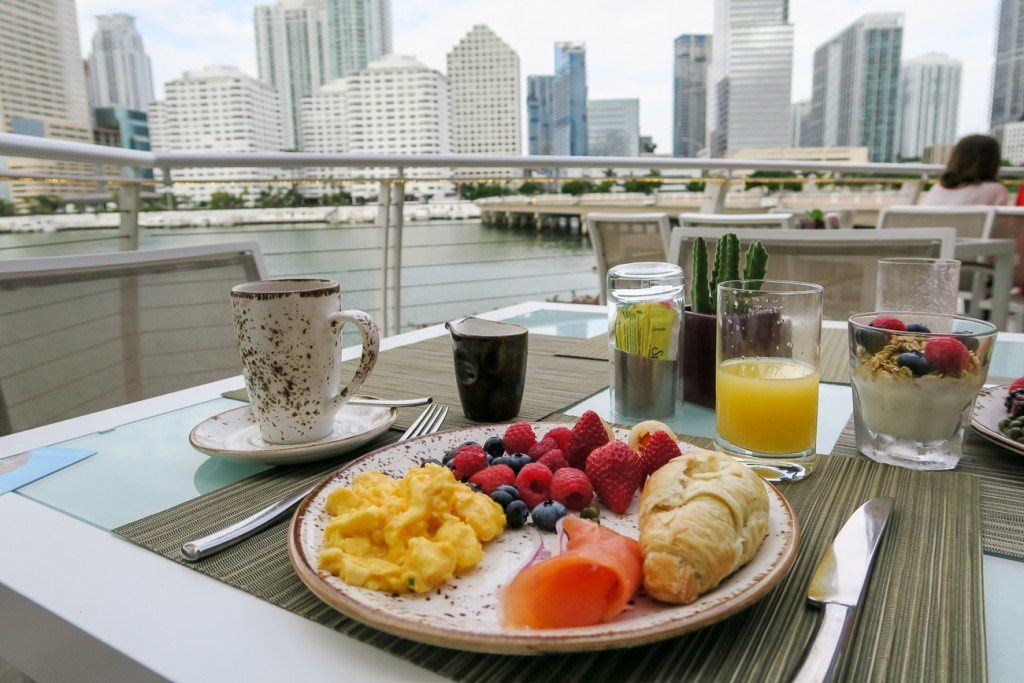 Breakfast at Mandarin Oriental, one of Miami's best luxury hotels.