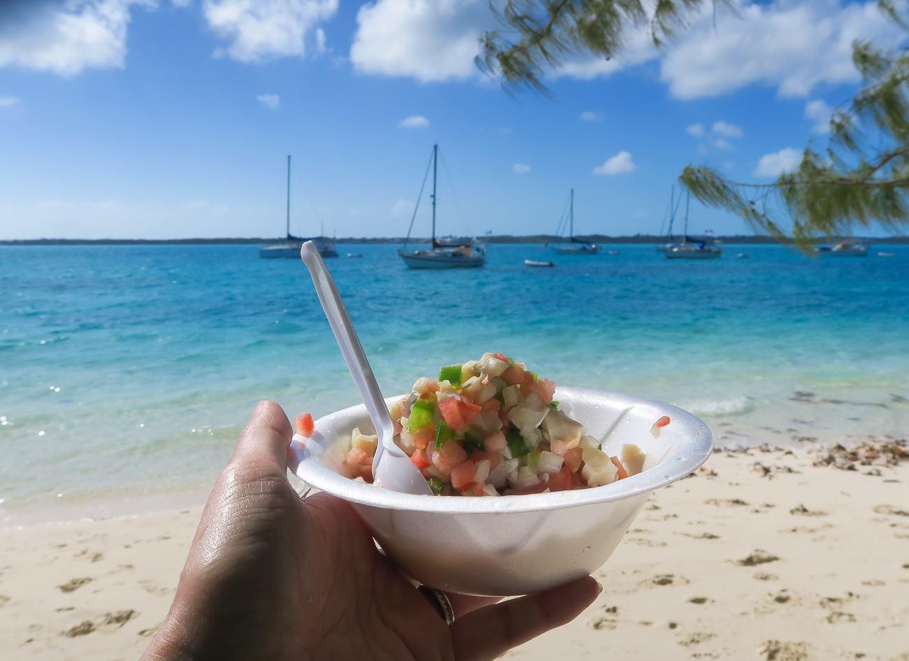 When visiting Great Exuma, conch salad at Chat N Chill is a must. Plus, you feed scraps to stingrays!