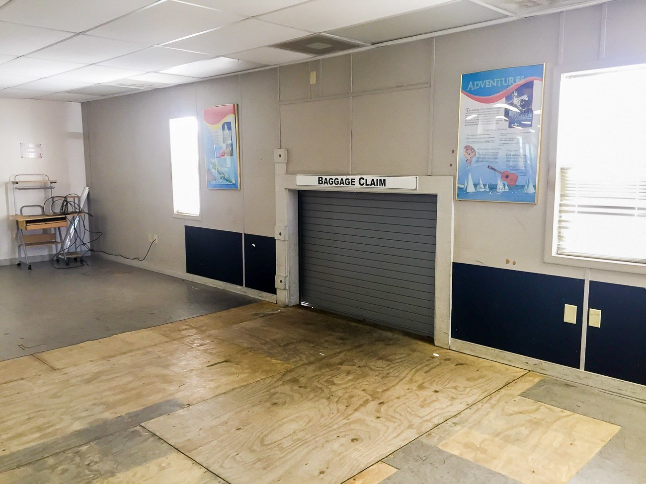 The very simple baggage claim at George Town airport on Great Exuma in the Bahamas