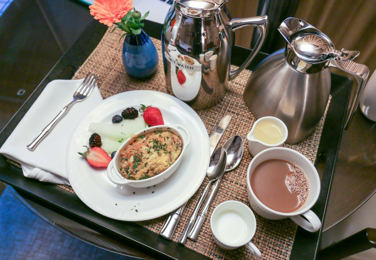 Breakfast is served in your room at the world-famous Golden Door destination spa.