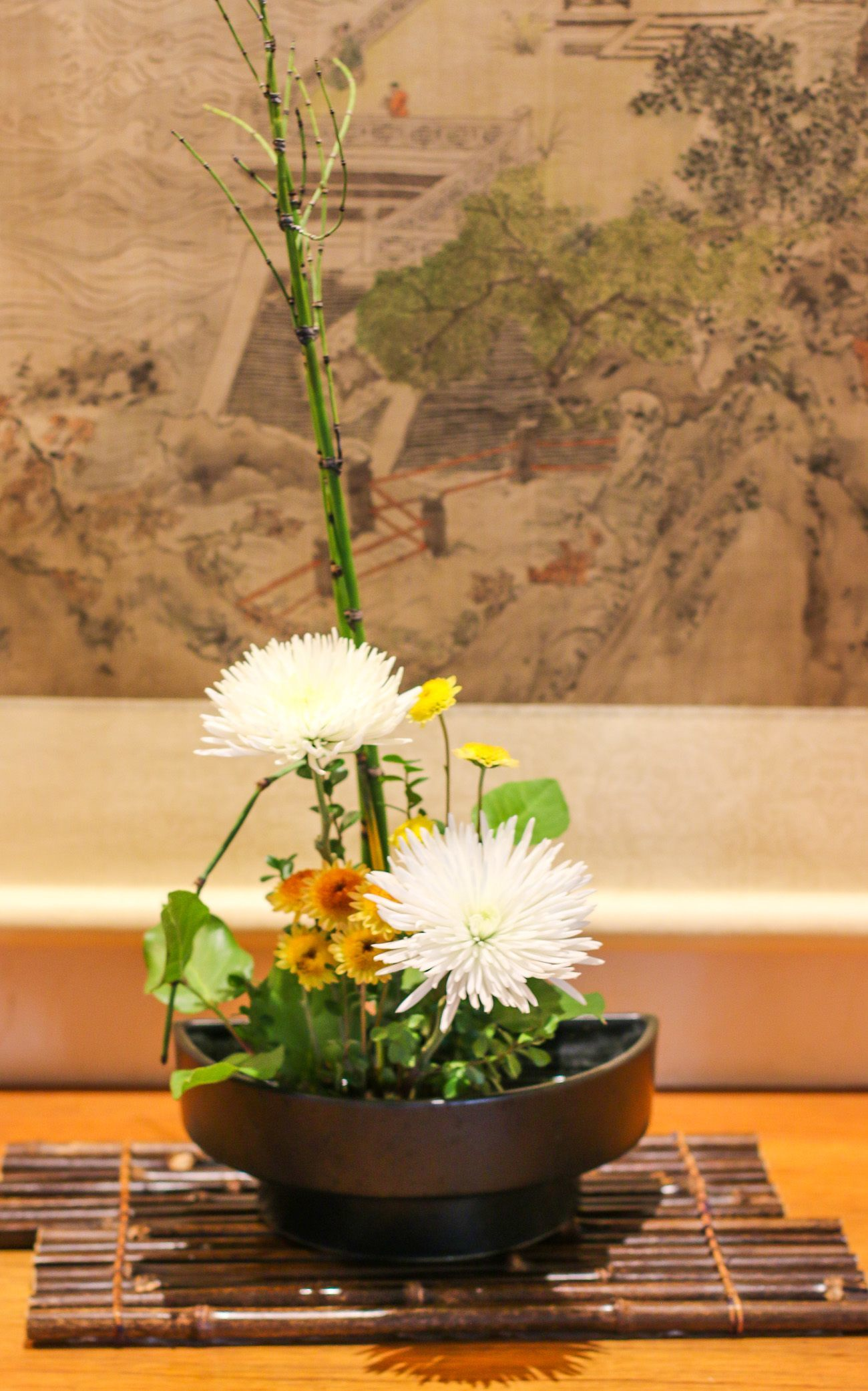 A gorgeous Ikebana flower arrangement at Golden Door Spa.