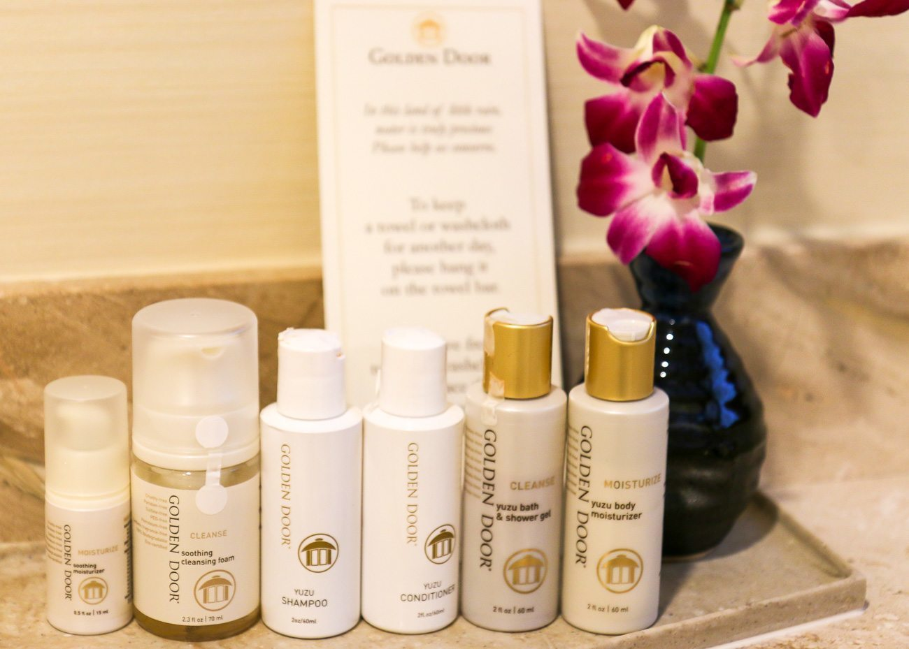 These are the Golden Door skincare products that are left in the rooms for guests to try. They are AMAZING.