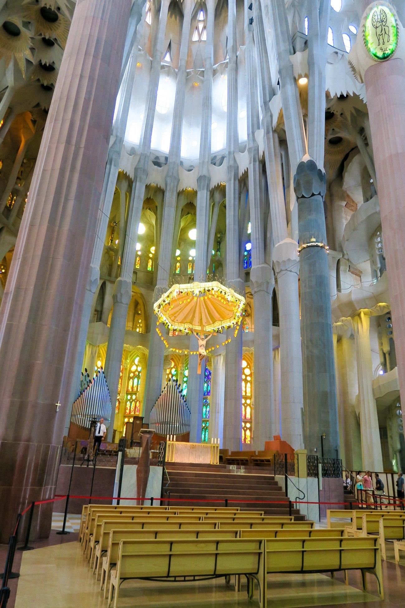 Stunning detail inside Gaudi's Sagrada Familia in Barcelona.