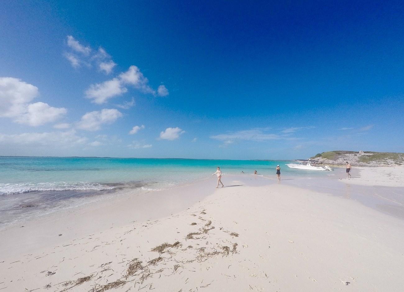 Gorgeous white sand beaches in the Exumas as seen during our swimming pigs tour.