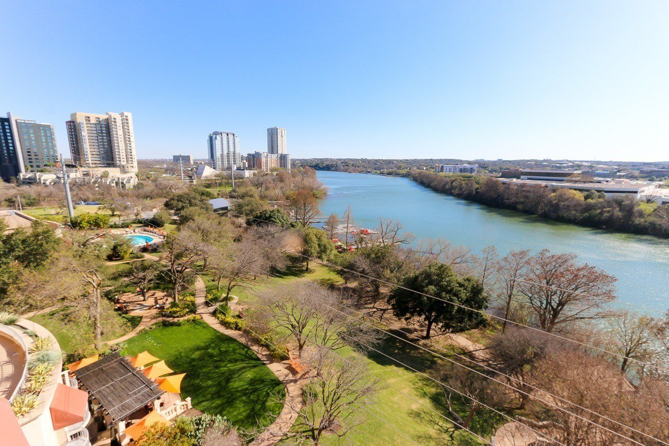 The view of Lady Bird Lake from a room at Four Seasons Hotel Austin
