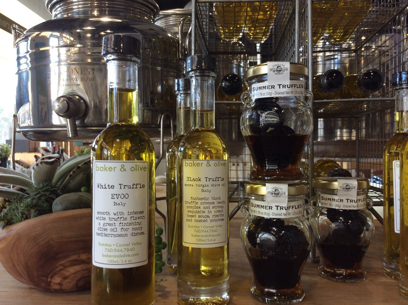A selection of olive oil and vinegar from Baker + Olive
