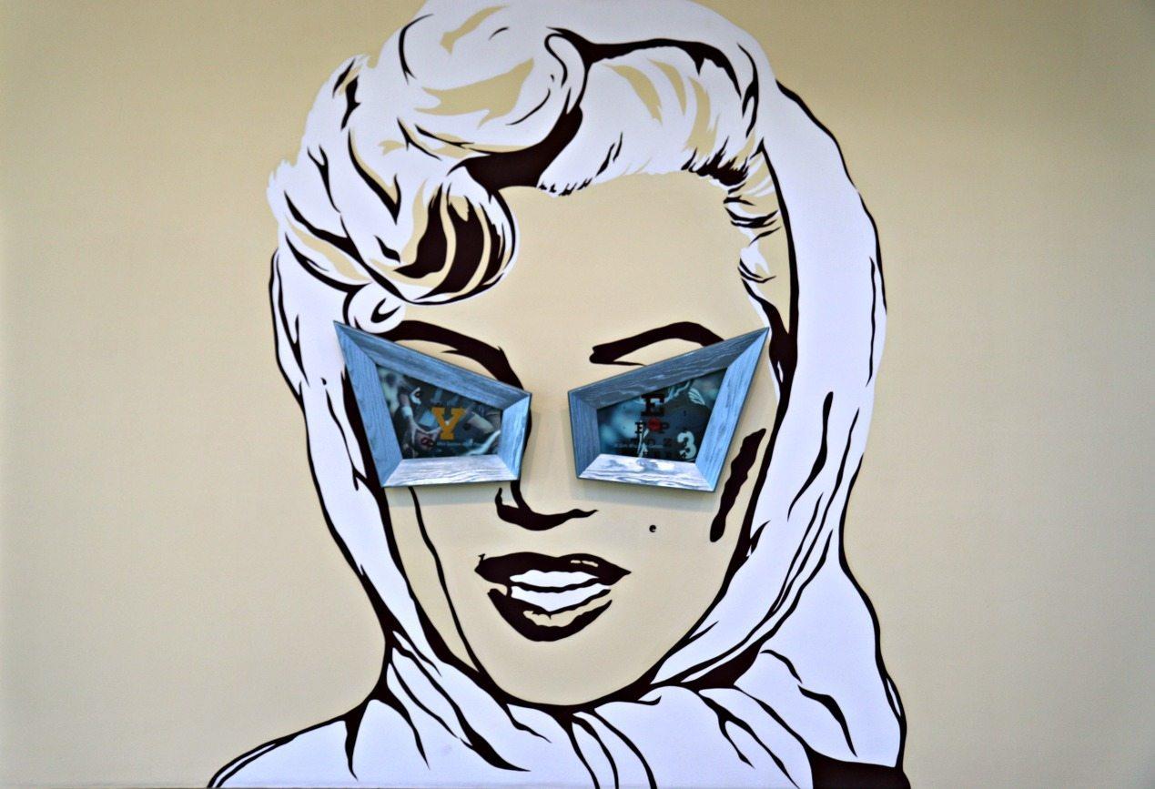 A Marilyn Monroe mural inside MCASD La Jolla