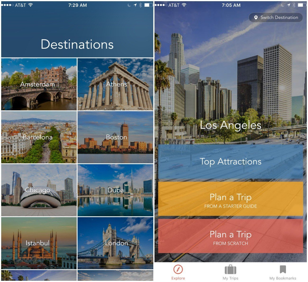 Choose a major city destination on the RueBaRue travel app.