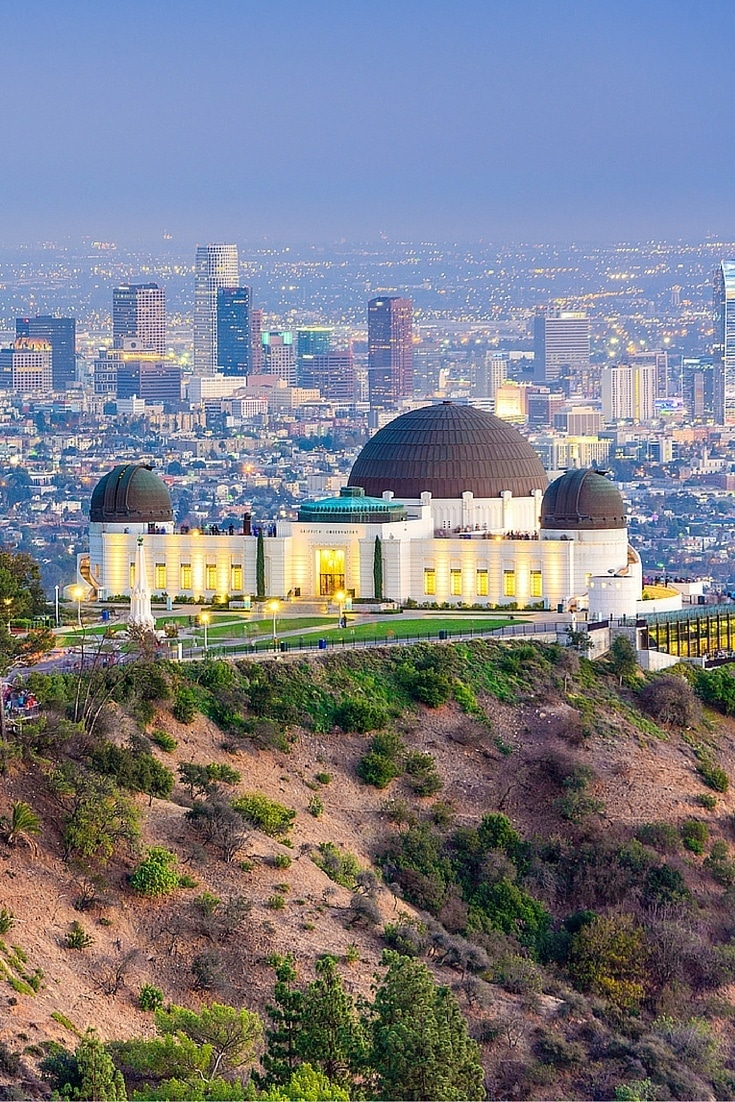 The Griffith Observatory in Los Angeles, a stop planned on the RueBaRue travel app.