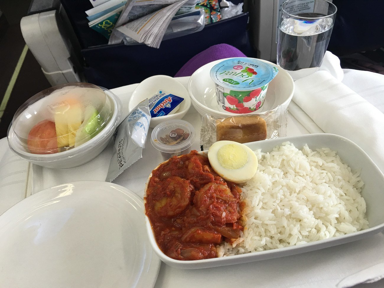 Seafood rice (delicious) for breakfast on Malaysia Airlines in business class from Taipei to Kota Kinabalu