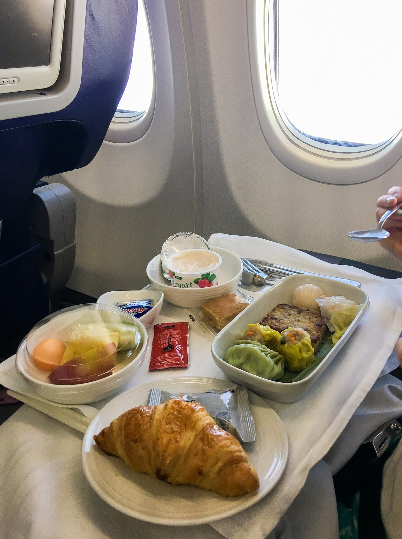 Dim sum breakfast on Malaysia Airlines in business class from Taipei to Kota Kinabalu