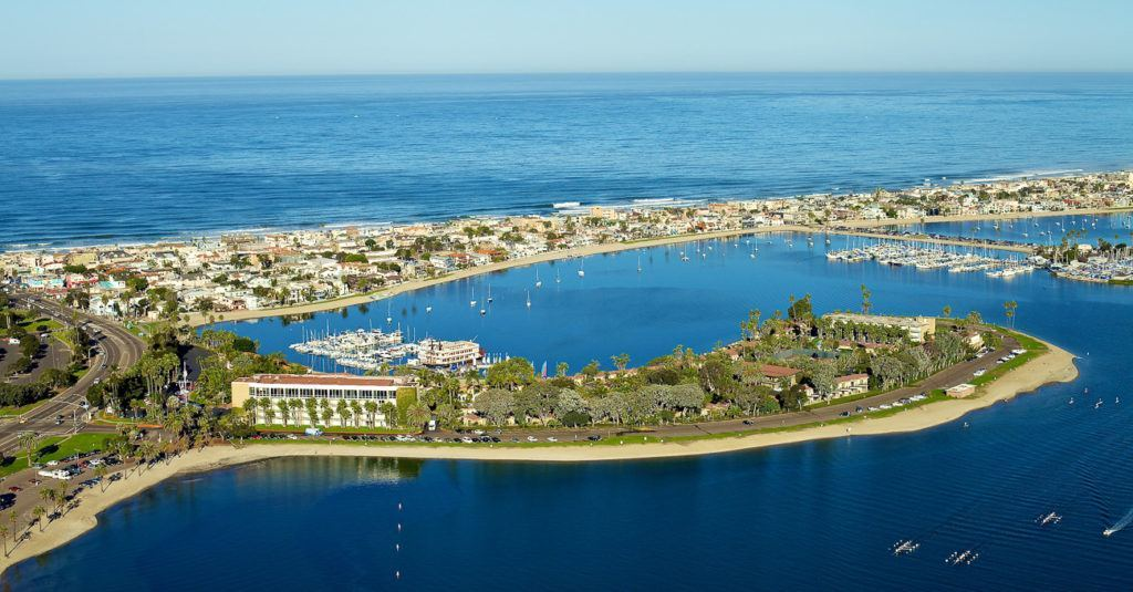 An aerial view of Bahia Resort Hotel, one of San Diego's best family beach hotels