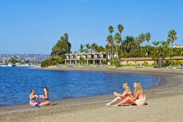 The bay beach in front of Bahia Resort Hotel in San Diego
