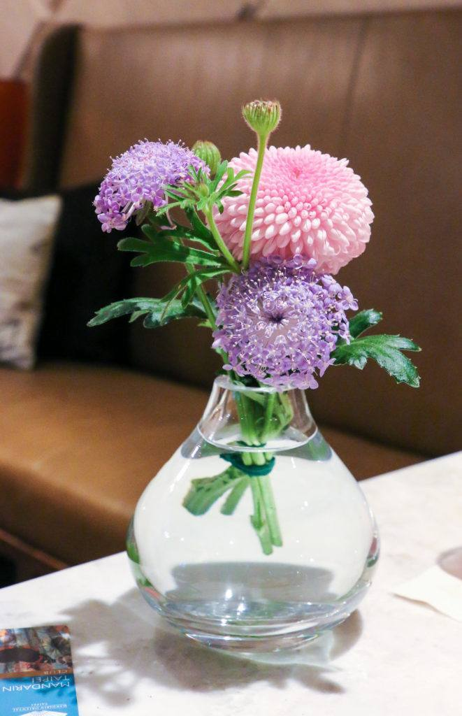 Pretty flowers in the Oriental Lounge at Mandarin Oriental, Taipei