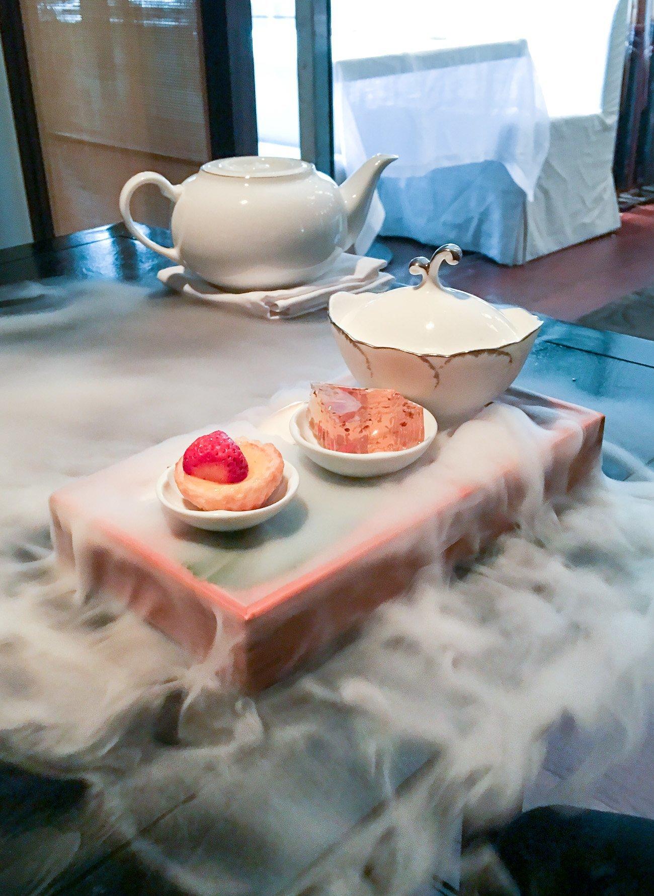 The Cantonese trio of desserts called Sweet Wonderland dessert at Mandarin Oriental, Taipei served with dry ice.