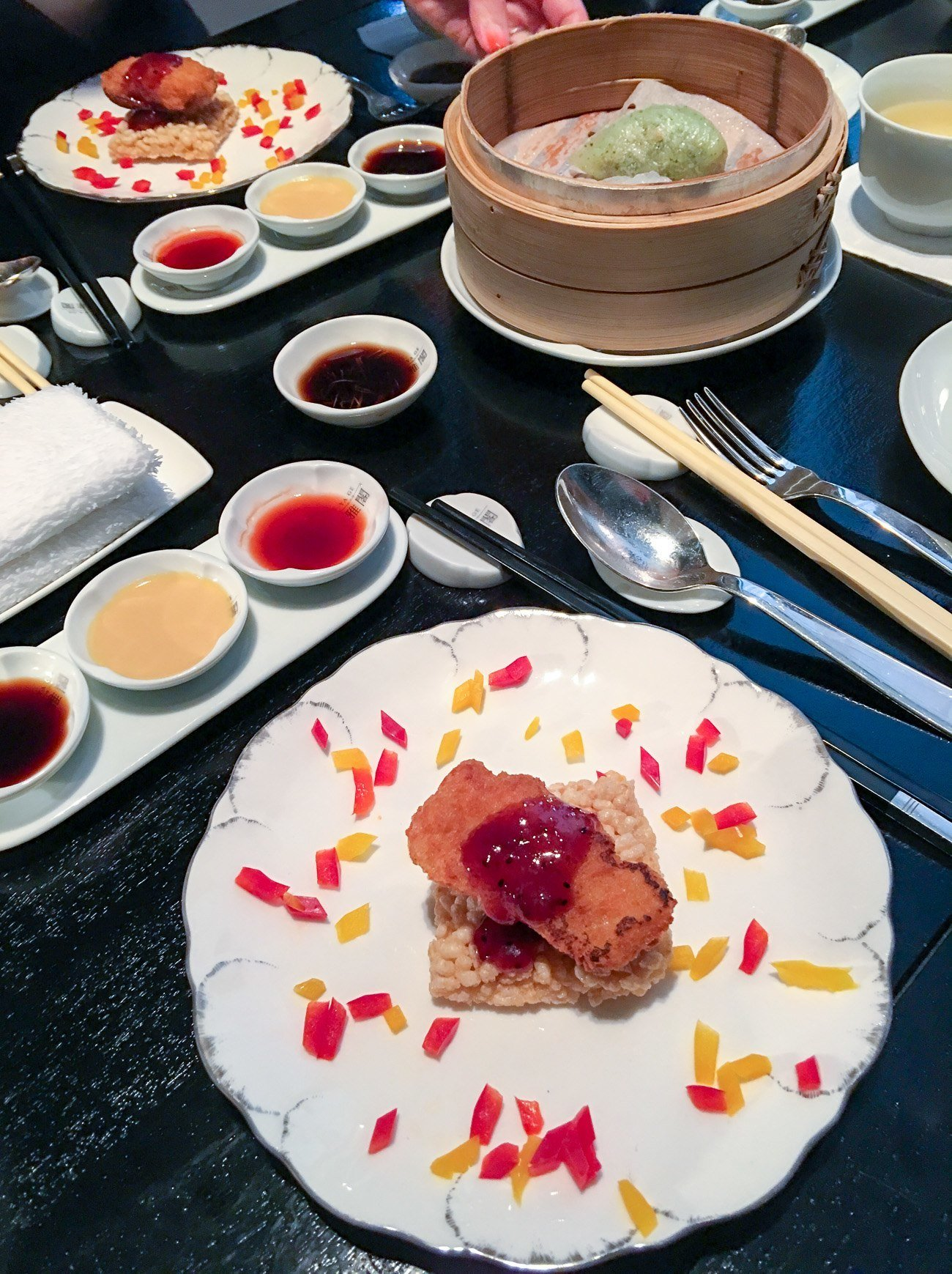 Crispy Suckling Pig Enrobed in Minced Shrimp with Crisp Rice and Strawberry Sauce at Mandarin Oriental, Taipei