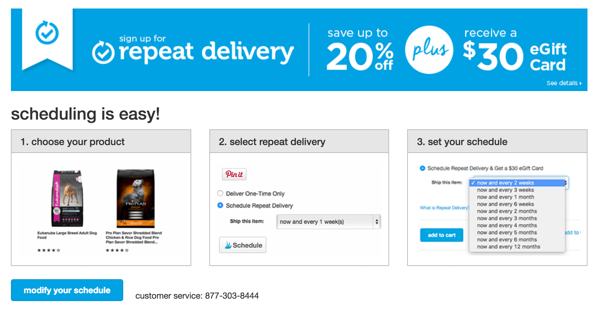 It is easy to sign up for Petco repeat delivery service.
