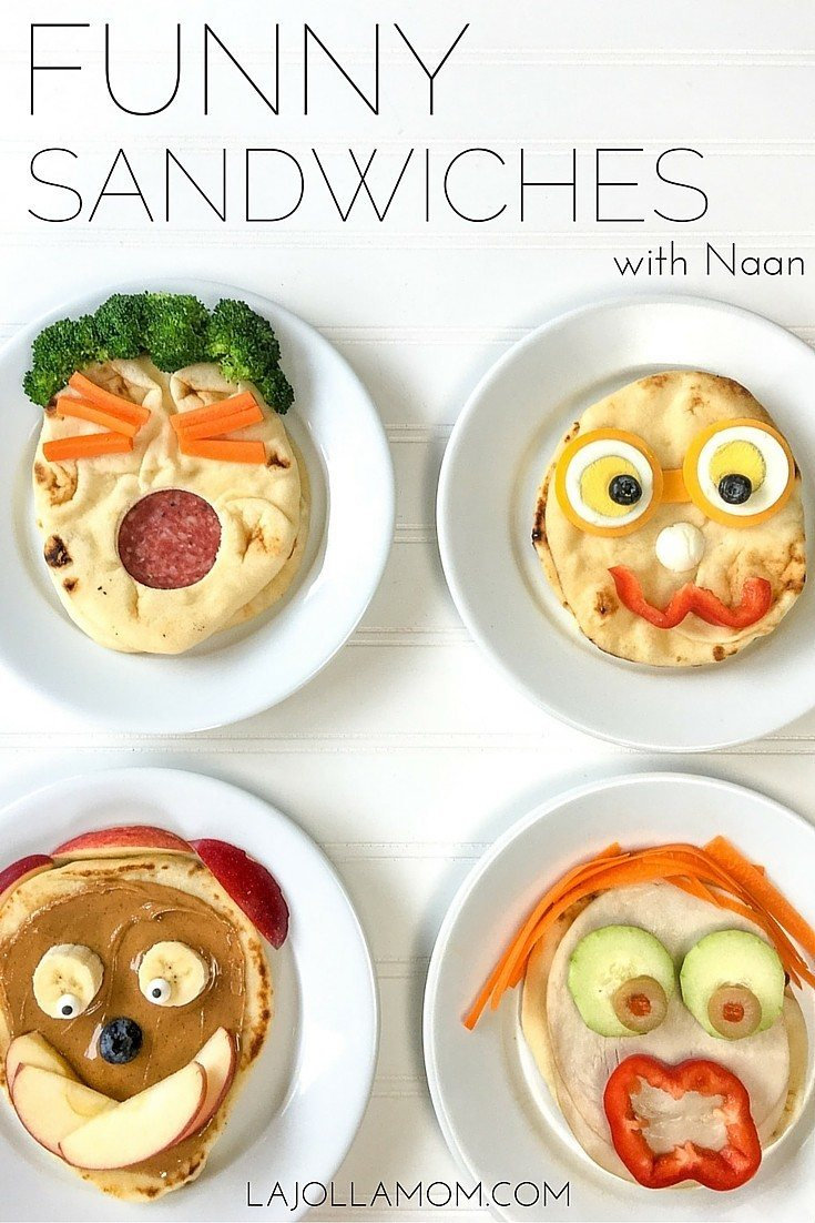 Make easy and cute sandwiches for kids using naan.