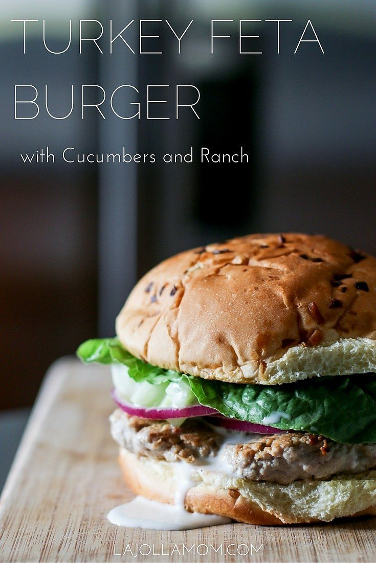 This easy turkey burger recipe can be made in less than 30 minutes. The feta and cucumber ranch add a little extra tasty flair!