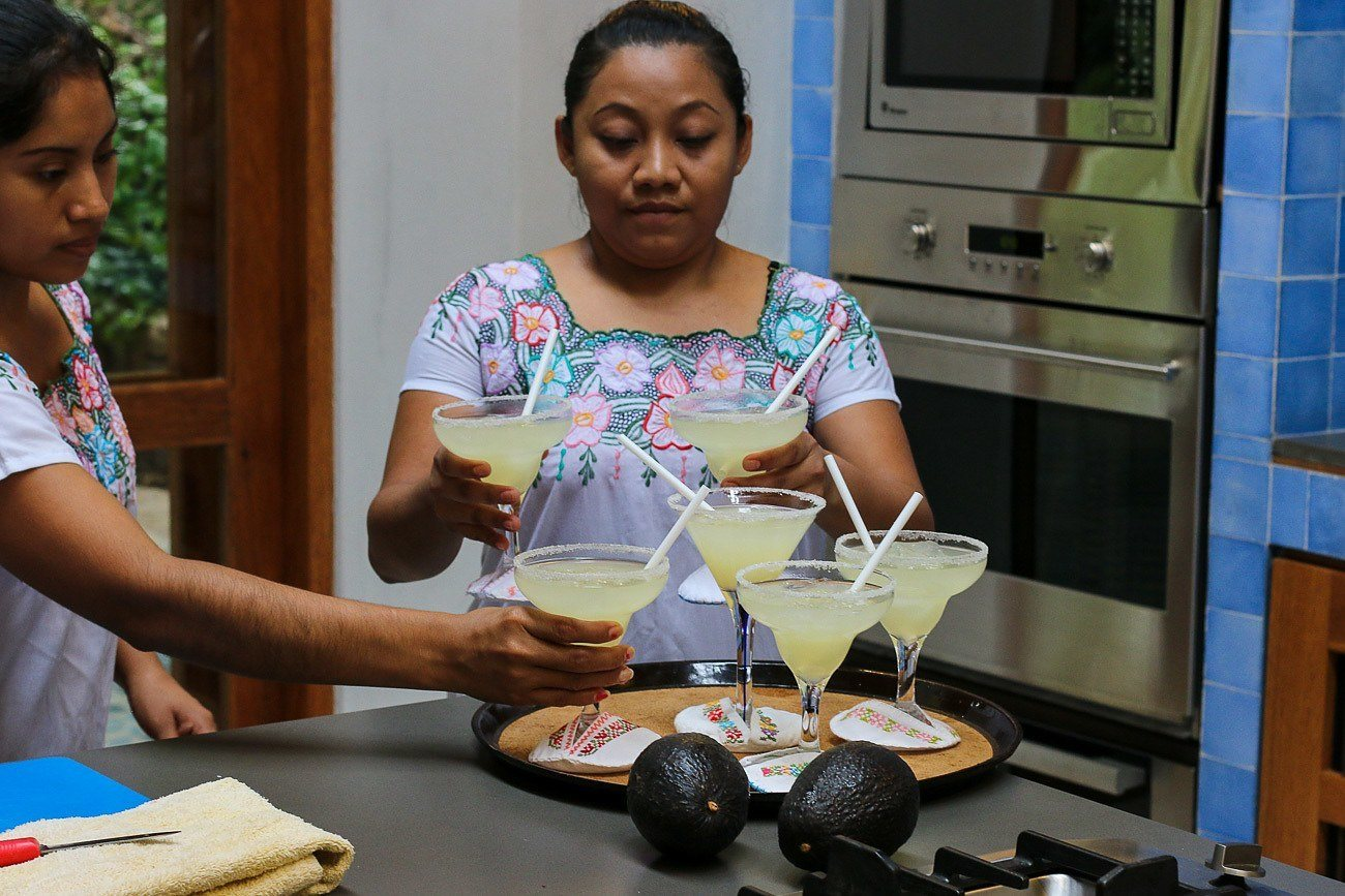 Margaritas to drink during cooking class at Hacienda Petac