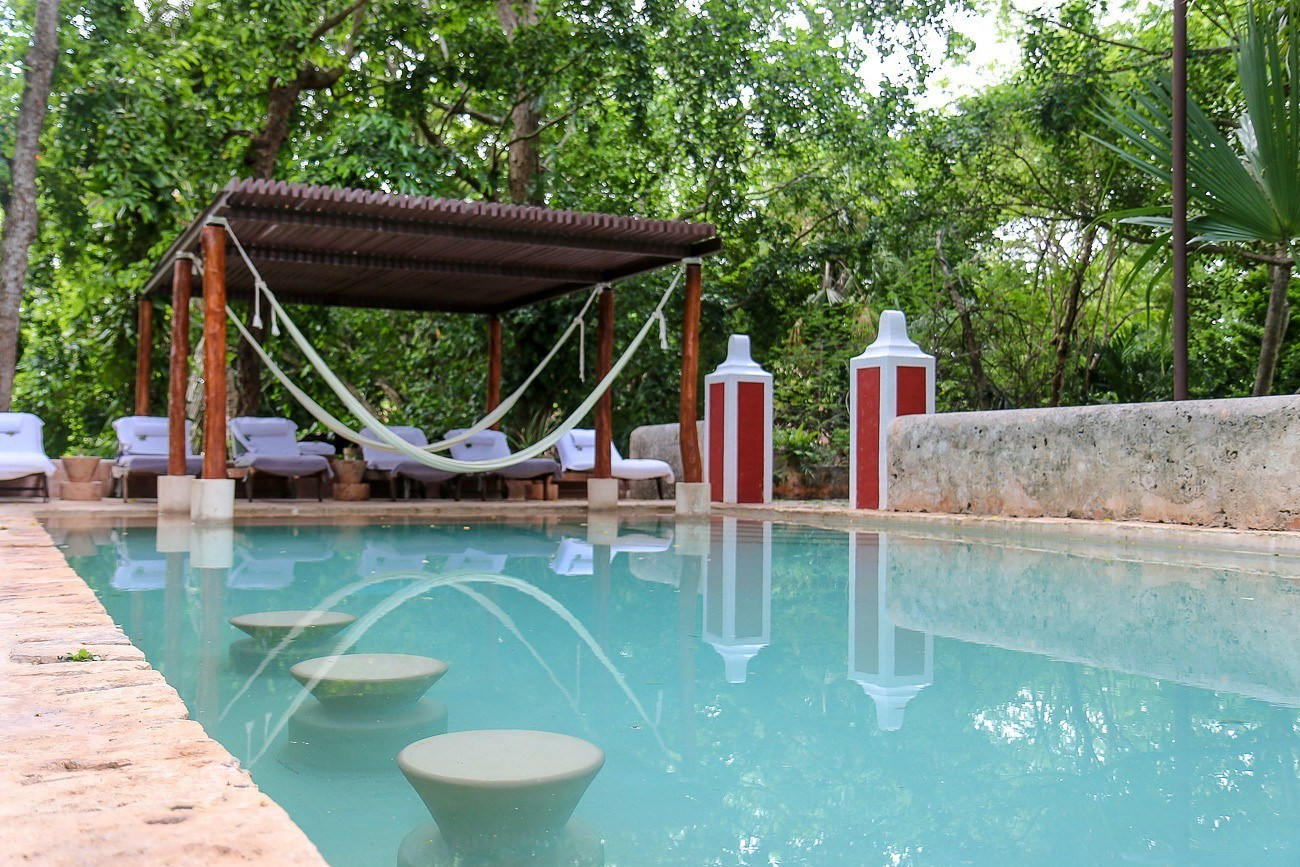 The pool at Hacienda Petac, a luxury accommodation in Mexico's Yucatan peninsula near Merida.