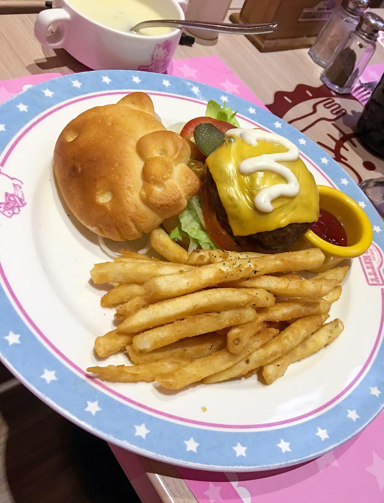 Hello Kitty hamburger at Hello Kitty Kitchen and Dining, one of Taipei's best theme restaurants.
