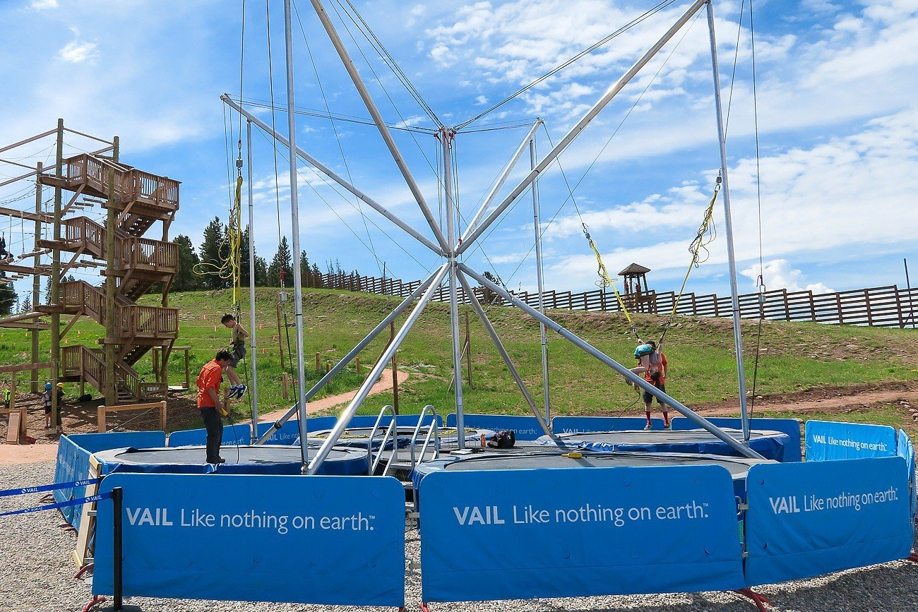 The bungee trampoline at Vail Mountain's Epic Discovery is a blast for kids.