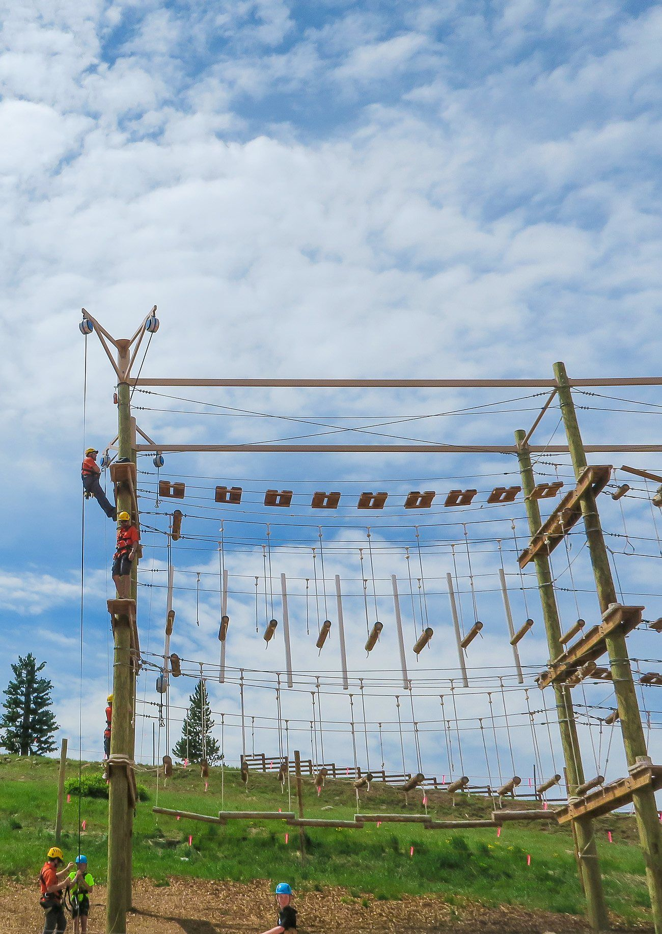 The ropes course at Epic Discovery on Vail Mountain also boasts panoramic mountain views in addition to opes, bridges, logs and balance elements.