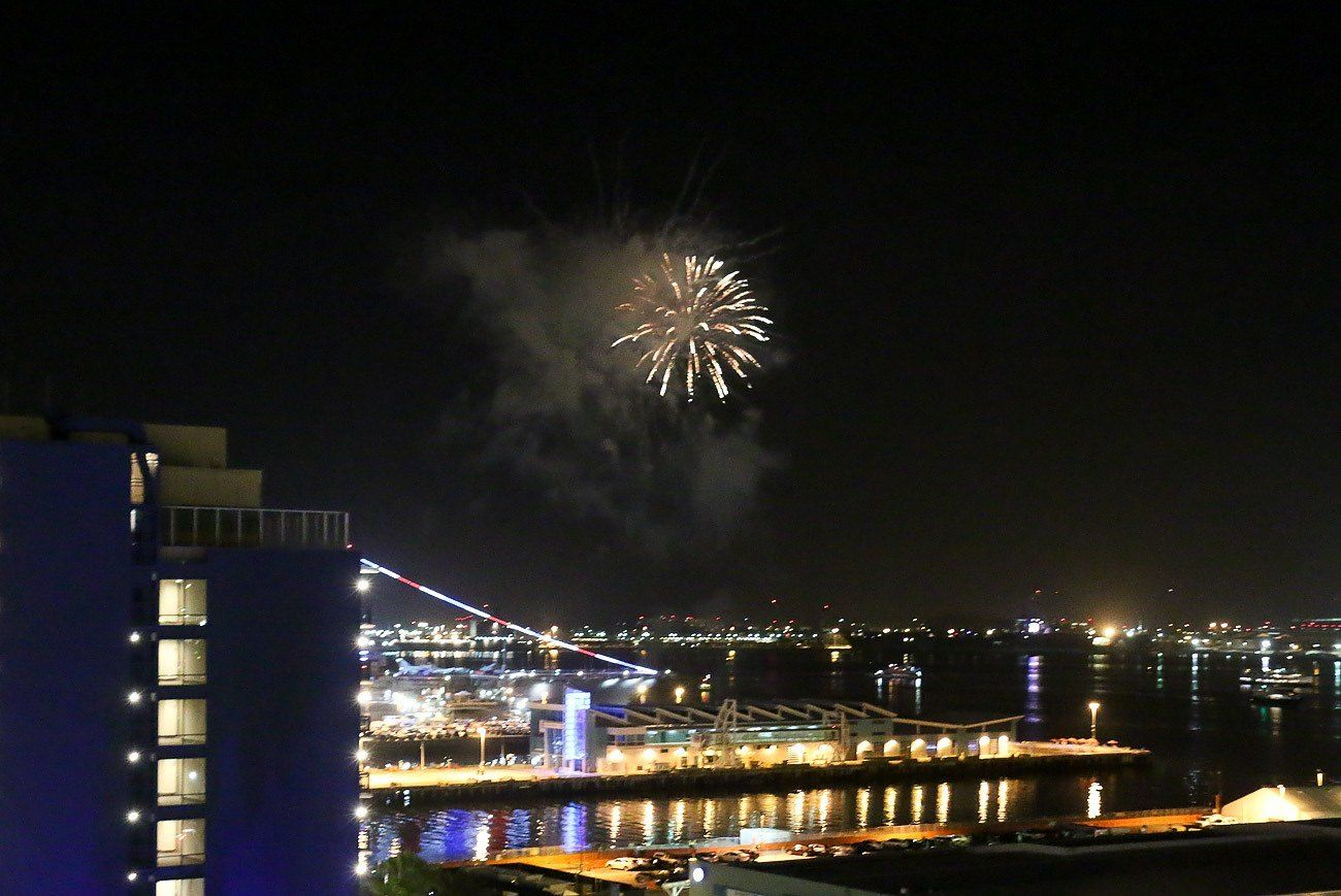 Fireworks seen over the San Diego Bay