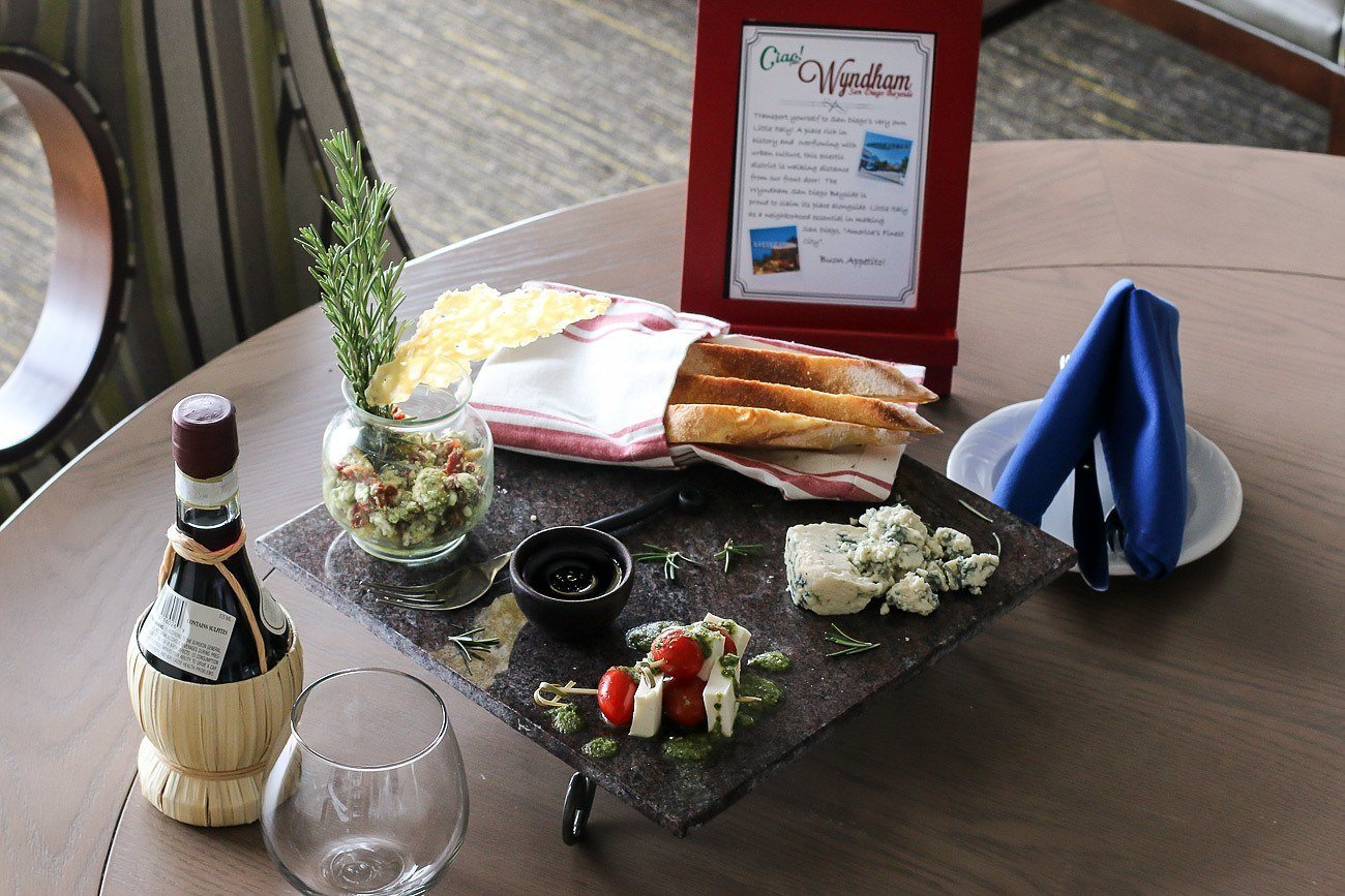 A Little Italy themed amenity in our room at Wyndham San Diego Bayside