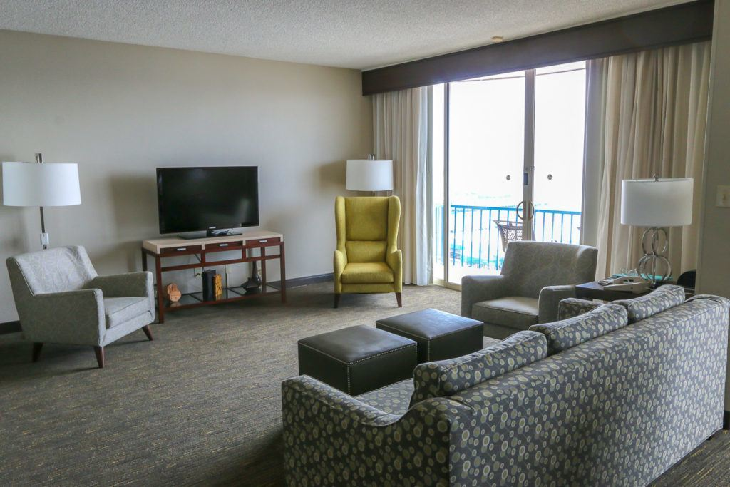The living room in the Governor's Parlor Suite at Wyndham San Diego Bayside