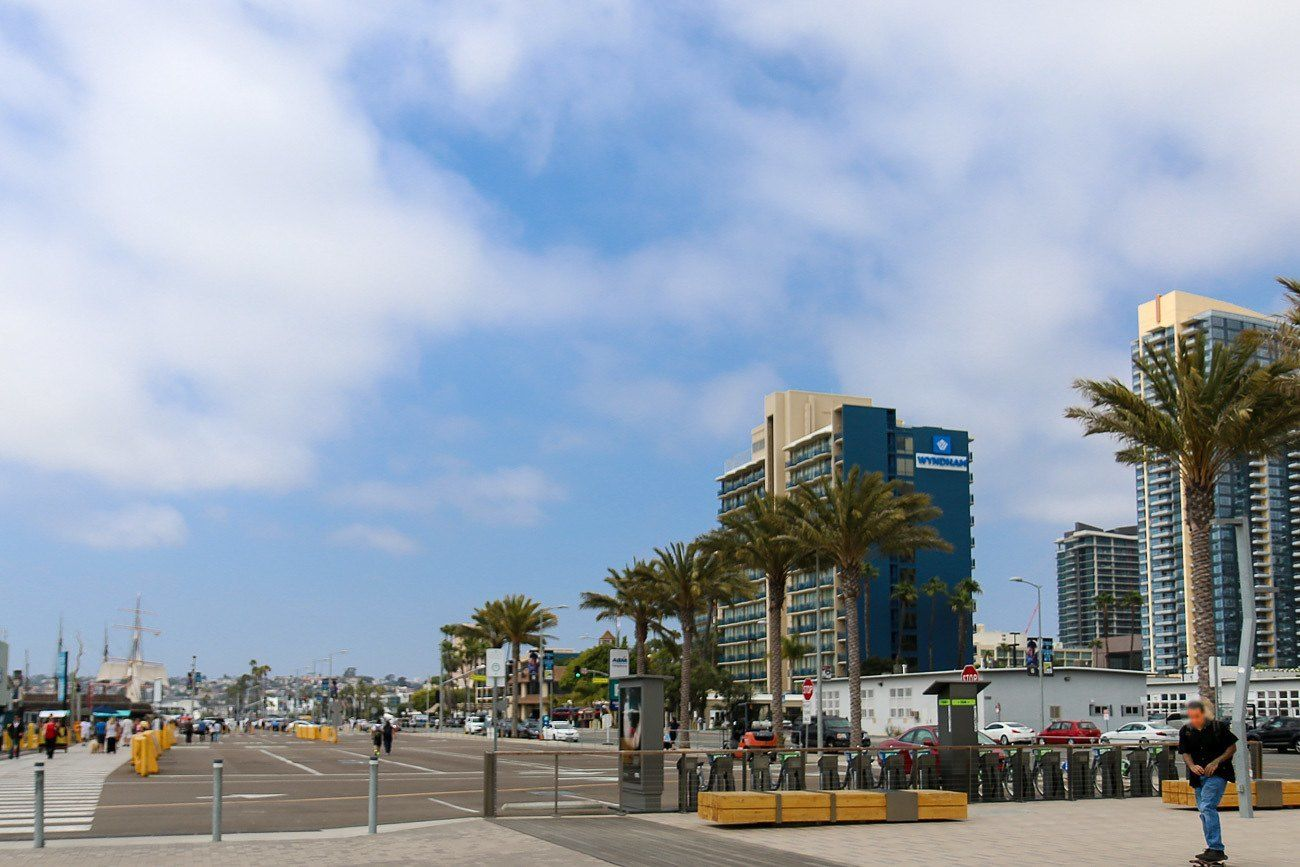 The Wyndham San Diego Bayside as seen walking from Seaport Village