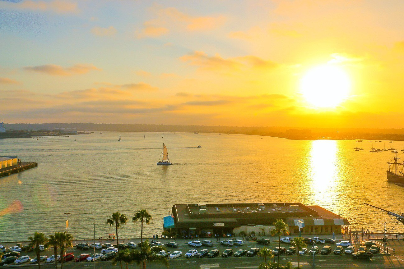Sunset view from Wyndham San Diego Bayside