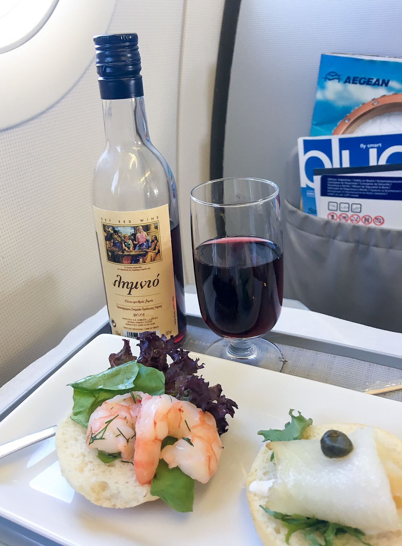 Snack meal served between Athens and Heraklion on Aegean Airlines in business class.