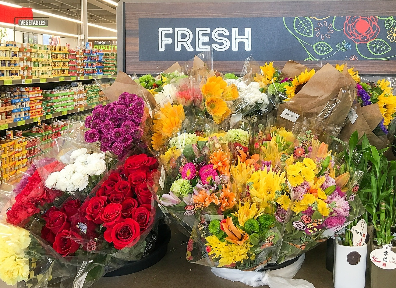 Fresh flowers at Aldi in Vista
