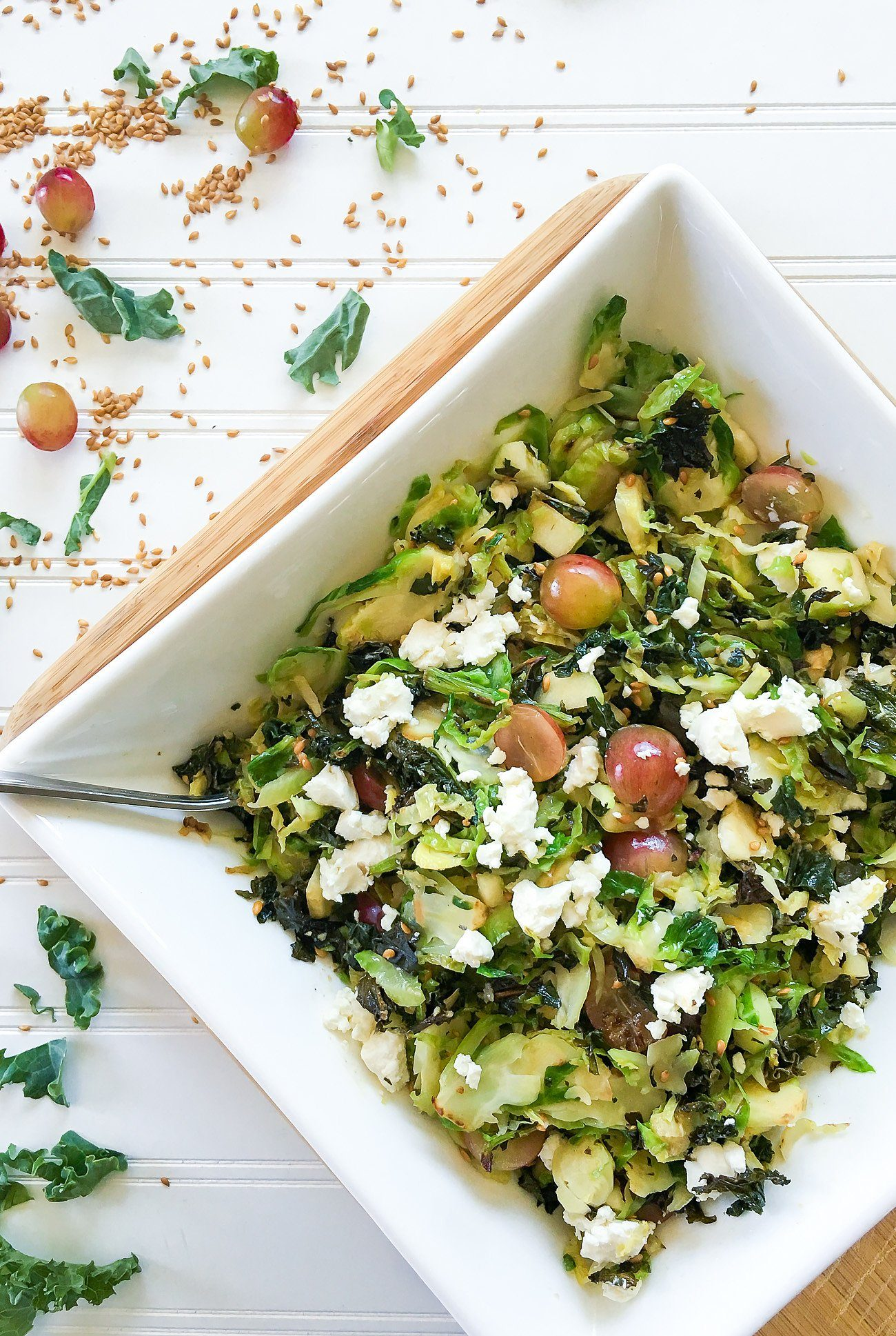 Recipe: Warm Superfood Salad with Kale, Brussels Sprouts, Honey Goat Cheese, Grapes