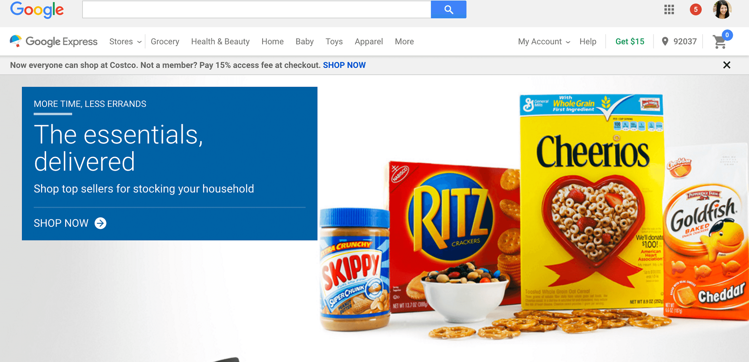 The Google Express interface