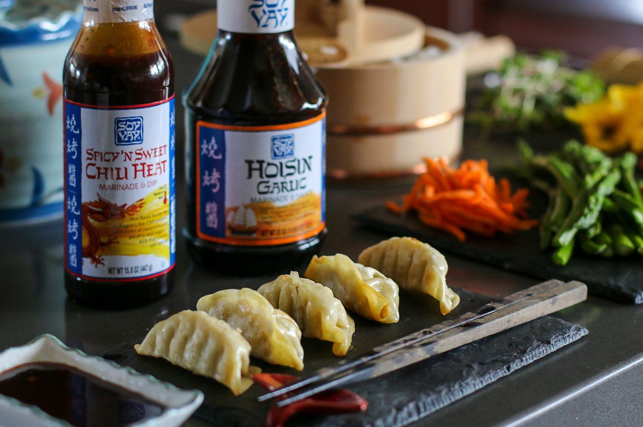 Gyoza, edamame, teriyaki chicken and seaweed salad are just a few items that compliment a sushi party.