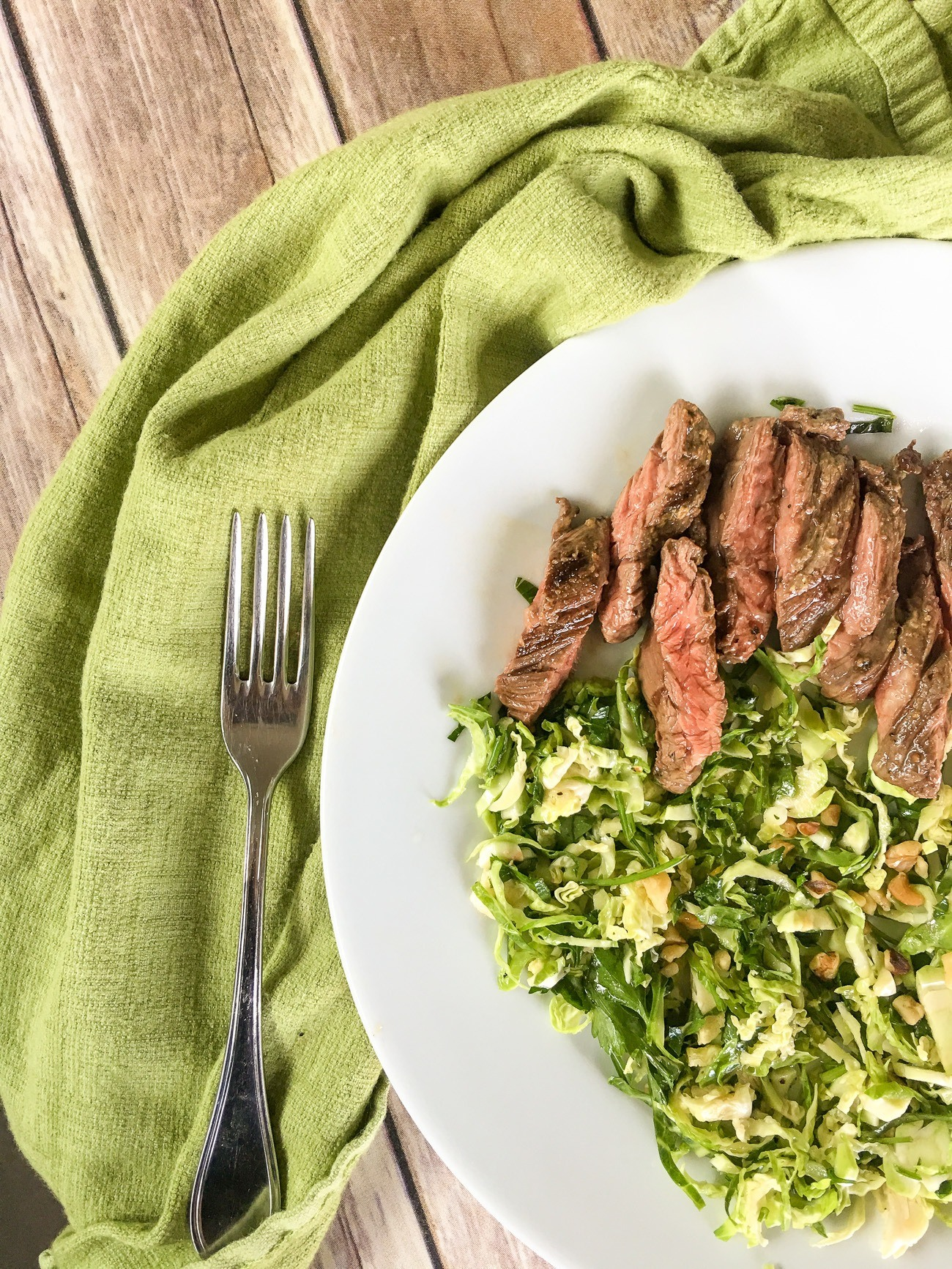 Skirt steak with Brussels sprouts from Terra's Kitchen meal delivery service.