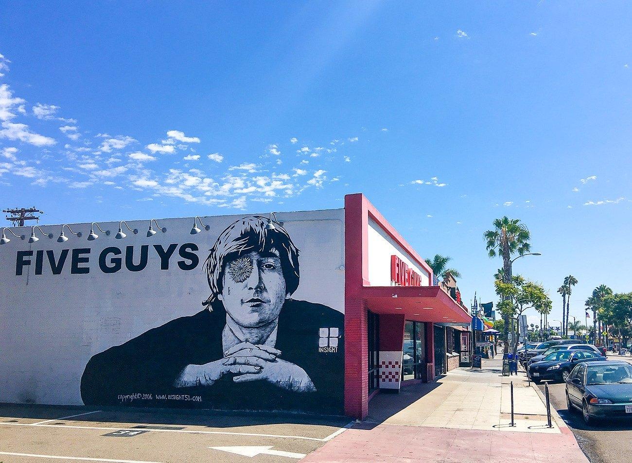 Five Guys, a casual restaurant in San Diego's Pacific Beach neighborhood