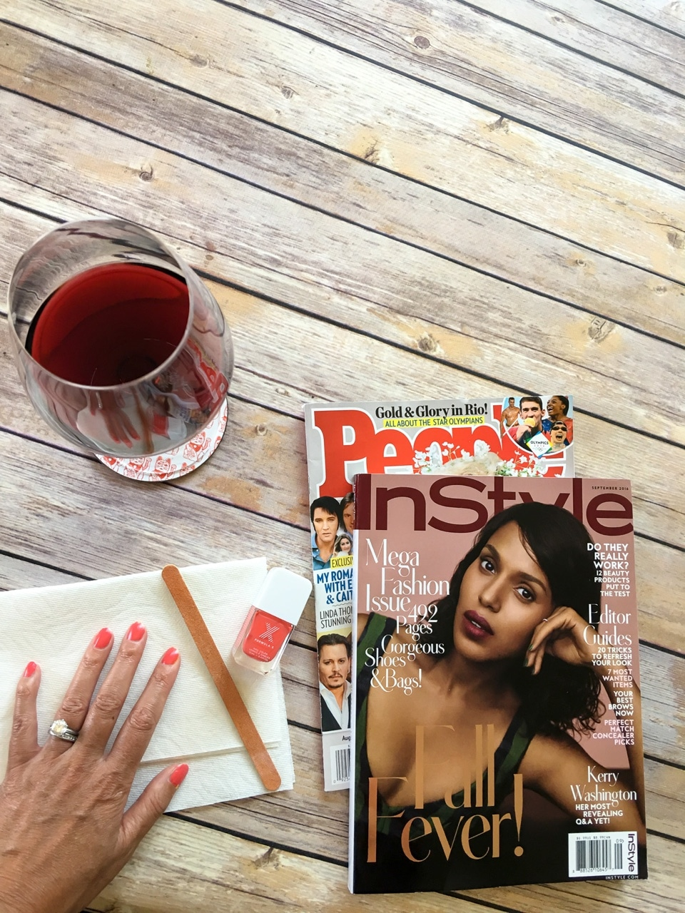 Magazines, manicure and wine - what more could you ask for?