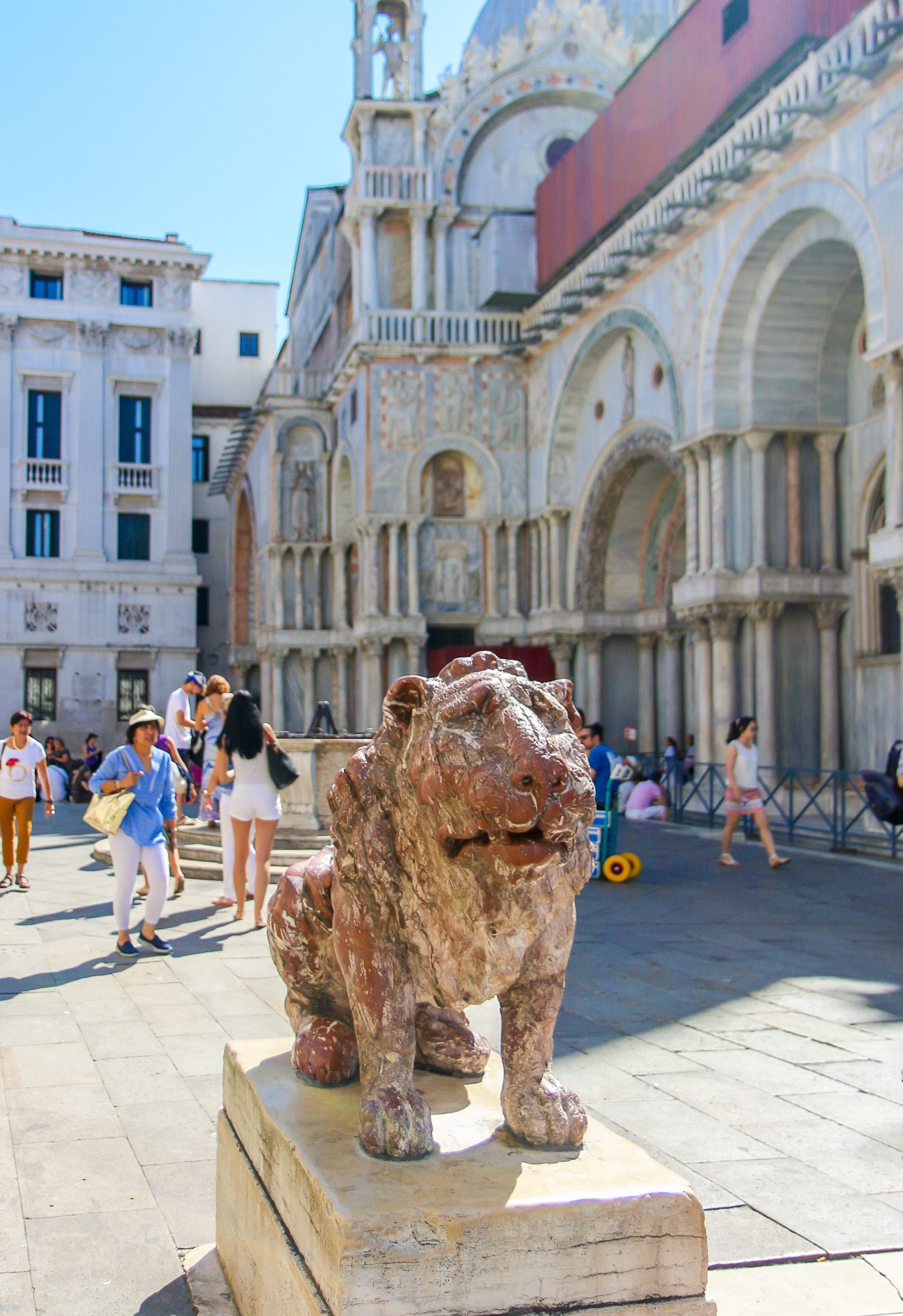 A lion near St. Mark's Basilica in Venice, Italy that we saw during a family lion hunt tour with Context Travel.