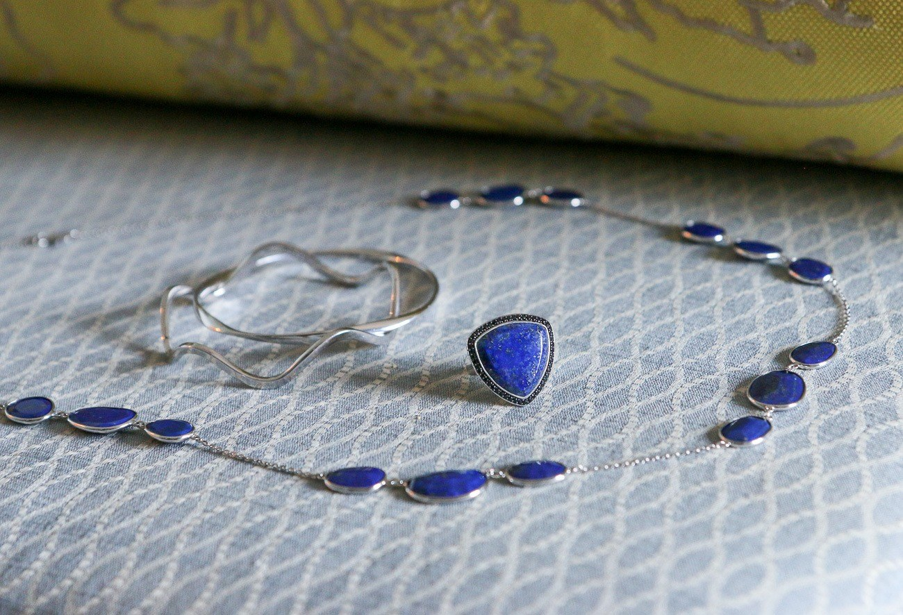 Lapis lazuli is a universal symbol of wisdom and truth. These gorgeous pieces are from the Lisa Bridge Collection.