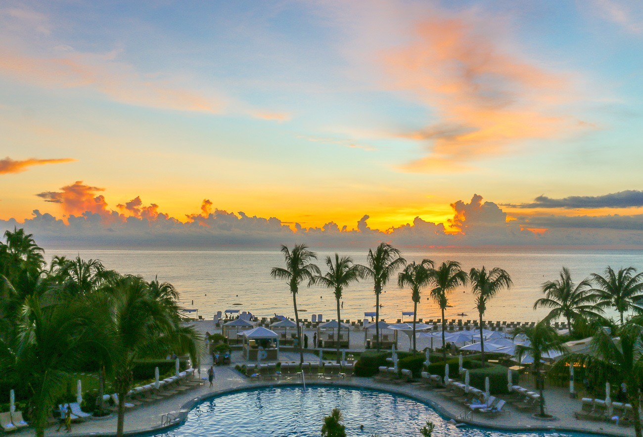 Sunset over Seven Mile Beach from an ocean front room at The Ritz-Carlton, Grand Cayman.