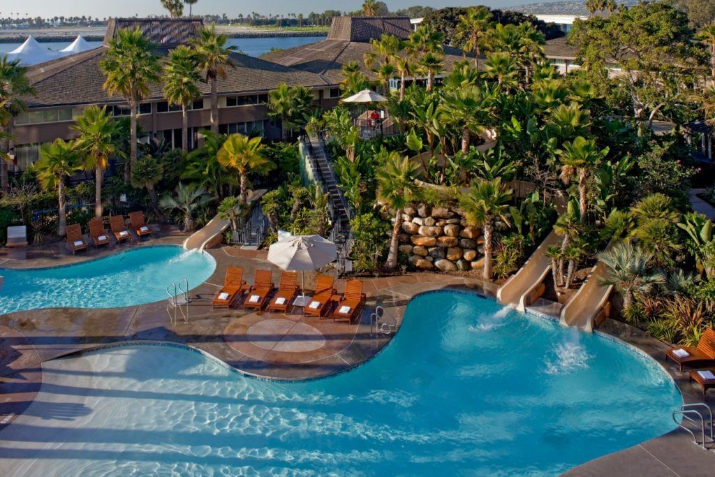 The pool at Hyatt Regency Mission Bay is the only hotel pool in San Diego to have three waterslides