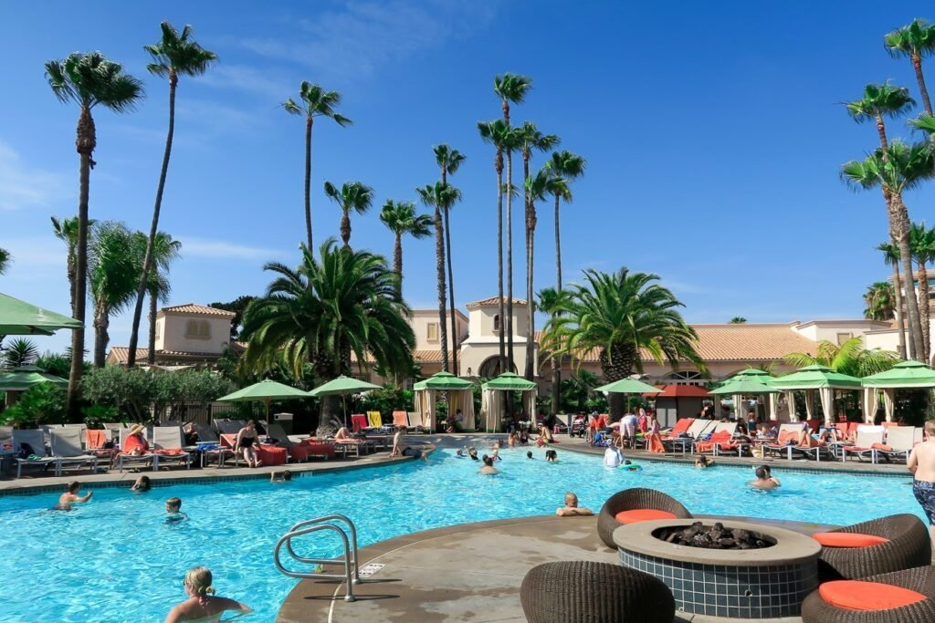 The waterfront pool at Hilton San Diego Resort overlooks Mission Bay and is great for families.