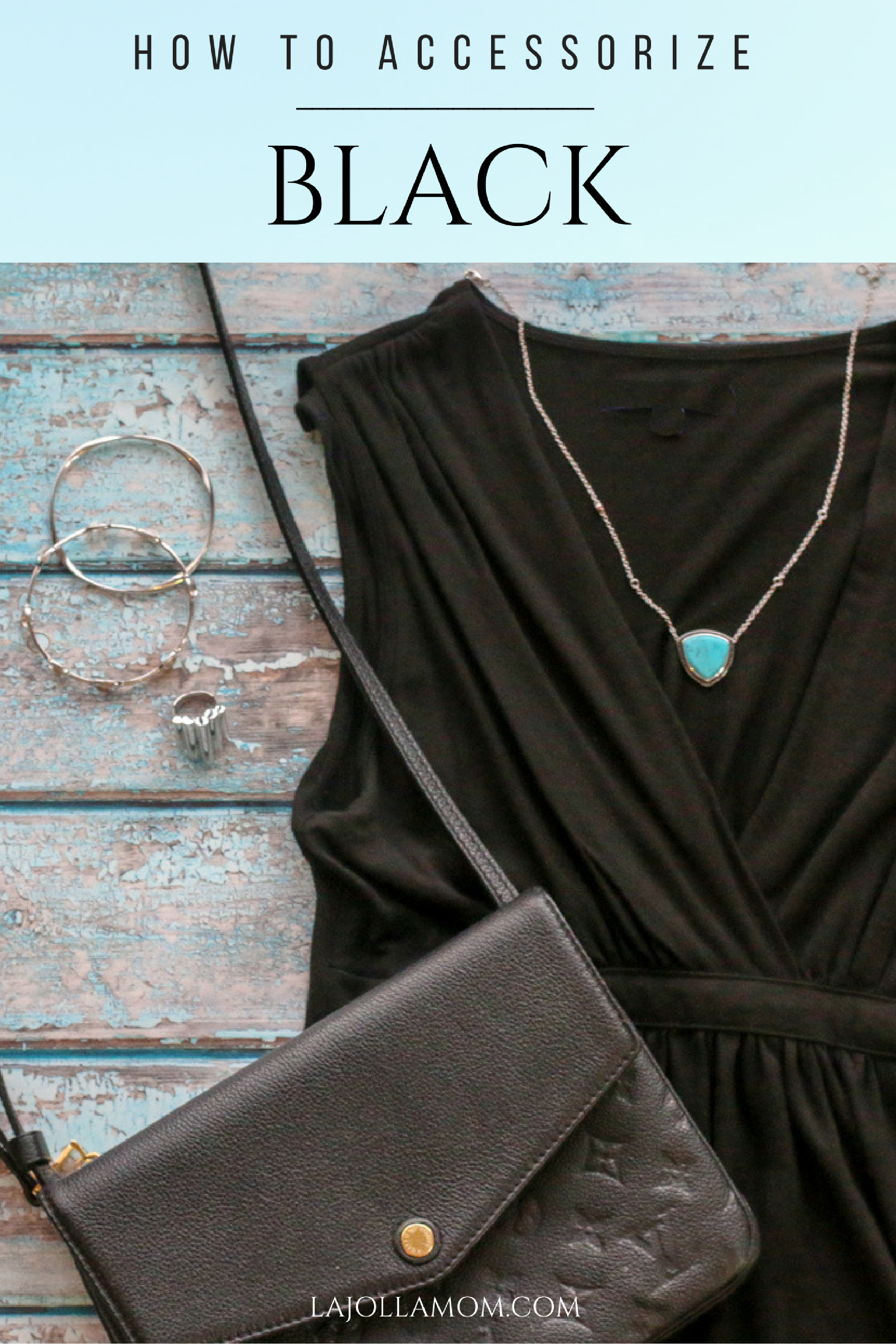 See how easy it is to accessorize black with travel inspired jewelry with real metal and gemstones from Lisa Bridge Collection.